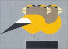 Gregarious Grosbeaks, by Charley Harper. really want. may have to make do with a cross-stitch version ;)
