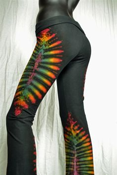 Rainbow Dancer tie dye Yoga pants Festival dance by TiedUpandDyed