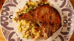 Pork Chops with Herb Creamed Corn - great recipe to use up all that delicious summer corn