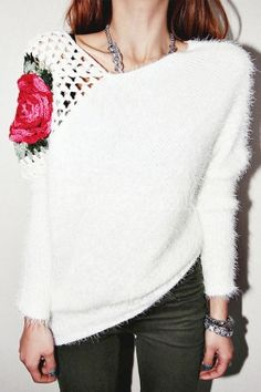 2016 Fashion New Women Sweater Flower Embroidery Floral Pullover Elegant  Woman Sweater top winter cute lady sweater white 52c26258b