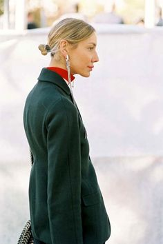 The Low Bun And Long Earrings Mix To Try Now