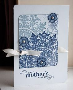 Supplies (all Stampin' Up unless specified): Stamps: Medallion backgrounds stamp, Occasional Greetings Ink: Bordering Blue, Night of Navy Cardstock: Whisper White, Brocade Blue Other: Corner Rounder, Whisper White taffeta ribbon, Pearls