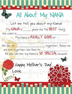 "DIY Printable 8"" x 10"" Mother's Day Letter for Nana"