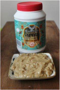 Homemade halva spread: tahini,honey and vanilla