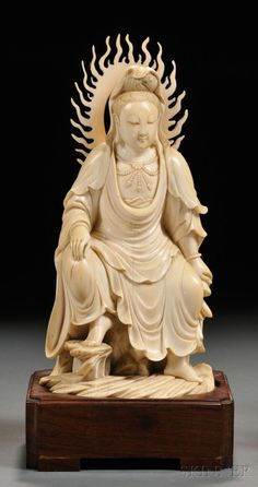 century finely carved as the seated figure of Guanyin in the royal ease pose atop rockery, with a flame shaped aureole to her back. Chinese Culture, Chinese Art, Guanyin, Bone Carving, Buddhist Art, Chinese Antiques, Japanese Art, Vintage Japanese, Asian Art