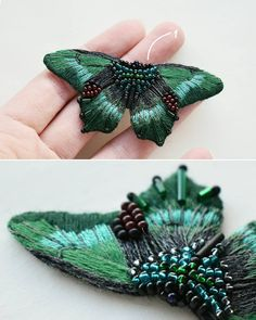 5 new butterflies 5 new moths and 2 birds hand-embroidered brooches cotton and wool threads glass beads clasps with silvering . Hand Embroidery Stitches, Silk Ribbon Embroidery, Hand Embroidery Designs, Beaded Embroidery, Embroidery Supplies, Embroidery Ideas, Couture Embroidery, Bead Embroidery Jewelry, Beaded Brooch