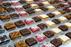 The Beverly Hills Brownie Company offers—yup, you guessed it—brownies. With 23 unconventional flavors, including new arrivals s'mores and no. Photo: Courtesy of Beverly Hills Brownie Company Dessert Buffet, Dessert Bars, Dessert Ideas, Mini Desserts, Delicious Desserts, Brownie Bar, No Bake Treats, Candyland, Brownies