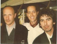 George with Ray Cooper and Richard E Grant on the set of How To Get Ahead In Advertising
