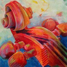Cello Head in RedPoster by Susanne Clark