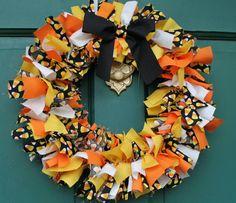 Halloween Candy Corn rag wreath  Orange yellow by MommMiaCreations, $18.00
