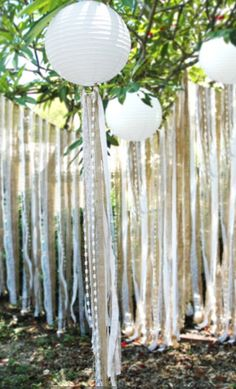 Hessian and lace lanterns