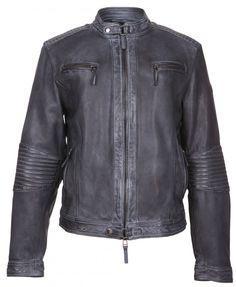 Veste cuir noir mat