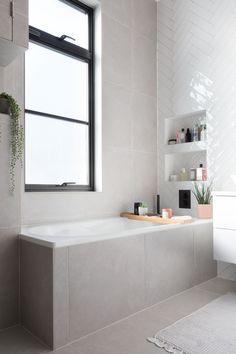 Grey tiled steel bath, white tiles and black hardware Gray And White Bathroom, White Bathroom Tiles, Bathroom Layout, Small Bathroom, White Tiles, White Herringbone Tile, White Bathroom Interior, Tiled Bathrooms, Black Bath
