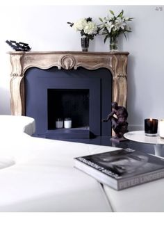 blue-painted fireplace, antique mantel, half-modern and half-ancient… / Home Fireplace, Fireplace Design, Black Fireplace, Boho Home, Beautiful Space, Home Fashion, Interior Design Inspiration, Design Ideas, Interior And Exterior