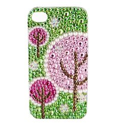 Handmade Bling Bling Romantic Cherry Blossoms Crystal Rhinestone case cover for iphone5 iphone4 and 4S