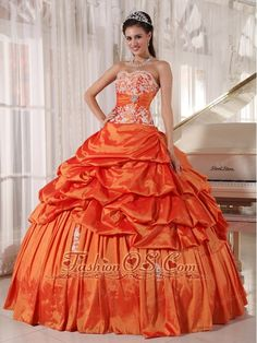 76eb1ccddf Inexpensive Orange Quinceanera Dress Sweetheart Taffeta Appliques and Ruch  Ball Gown http   www