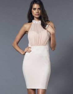 Lipsy Halter Flower Embellished Bodycon Dress....This would be beautiful for rehearsal.  :)