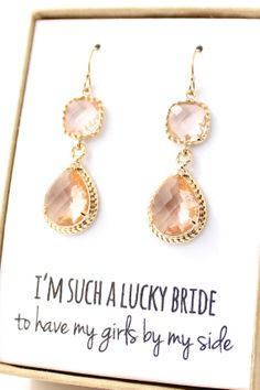Two Piece Peach Champagne Earrings with Gold Trim - Champagne Earrings - Peach Earings - Bridesmaid Earring - Gold Bridesmaid Earring-ER2