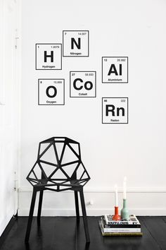 I should incorporate the Man's love of the Periodic Table into my art. Periodic System Wall Sticker ferm LIVING, Geometric Chair One by Konstanian Grcic Wall Stickers, Wall Decals, Wall Art, Ferm Living Wallpaper, Interior And Exterior, Interior Design, Design Your Home, Home And Deco, Home Decor