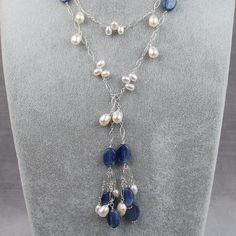 Teardrop Freshwater Pearl and Kyanite Lariat Necklace