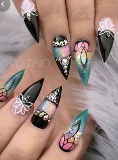 Acrylic Nail Designs, Nail Art Designs, Nails Design, Cute Nails, Pretty Nails, Stiletto Nail Art, Coffin Nails, Latest Nail Art, Nagel Gel
