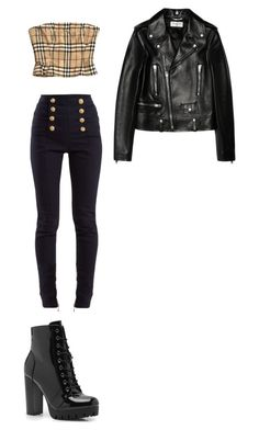 """Untitled #114"" by heyhelmet on Polyvore featuring Burberry, Balmain, Boohoo and Yves Saint Laurent"