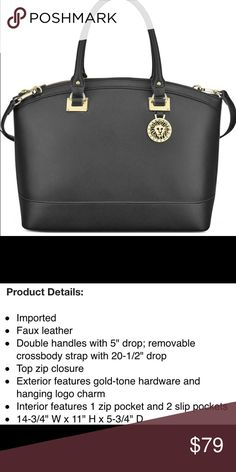 ANNE KLEIN Recruits Large Dome Satchel Bag Brand new Anne Klein bag Double handles with a drop length of 4.25 inches Detachable/adjustable strap Lined interior features backwall zippered pocket and two frontwall slip pockets Hanging logo charm detail Gold tone hardware Anne Klein Bags Satchels