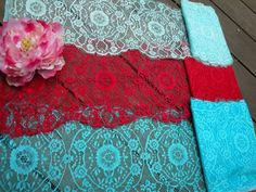 """1, 3 or 5 Yards of 9"""" Wide Aqua Blue Red Floral Stretch Lace Trim Bridal Wedding  Eyelash Victorian Style Lace Scalloped for Lingerie FJT2"""