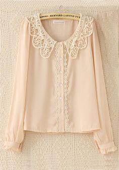 Pink Plain Lace Long Sleeve Chiffon Blouse