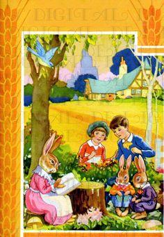 Visiting Mrs. Bunny At Her Cottage Vintage by DandDDigitalDelights