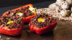 Quinoa stuffed peppers with quail egg
