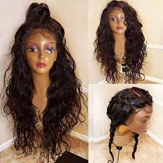 Long Free Part Bouffant Natural Wavy Synthetic Lace Front Wig - DEEP BROWN