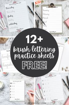 Check out all of these free to print brush lettering practice sheets, all in one place. Great for learning the art of hand lettering. #brushlettering #handlettering #printable #byamandakay