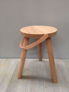 american oak stool with leather strap