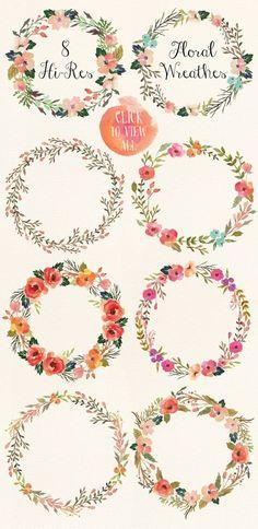 Watercolor flower DIY pack Vol.3 - Illustrations - 3. Love these watercolor wreath clip art pretties!: