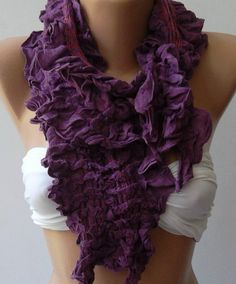 Purple  -- Elegance Shawl -- Scarf with Lace Edge-