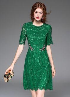 Bawełna Koronka Solidny Ponad Kolano Vintage Suknia