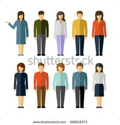 Man and woman flat style people figures icons