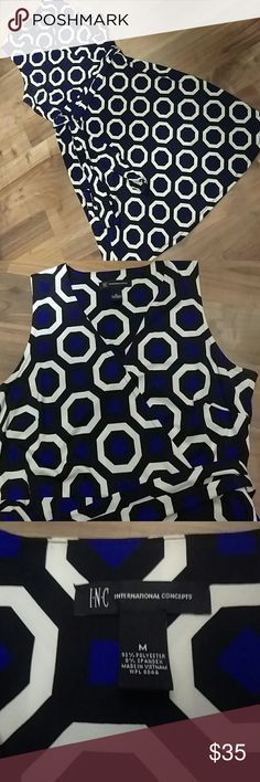 INC BLUE WHITE & BLACK KNIT DRESS, MED INC International Concepts by Macy's  Classic style BLUE WHITE & BLACK KNIT DRESS, MEDIUM. Comfortable geometric pattern knit fabric doesn't wrinkle and flows nicely. Top is a rap or sir please comes with a long sash or you could wear with a solid belt as well. Like new condition worn twice. No stains rips or wear. Non-smoking no pet home. Bundle for discounts! INC International Concepts Dresses Mini