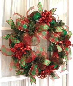 Deco Mesh CHRISTMAS Slim Screen Door  Wreath Traditional Red Green Plaid