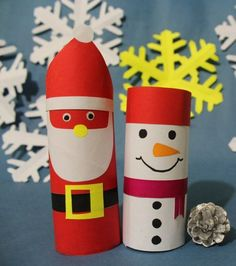 basteln-klorollen-weihnachten-weihnachtsmann-schneemann-einfach-anleitung