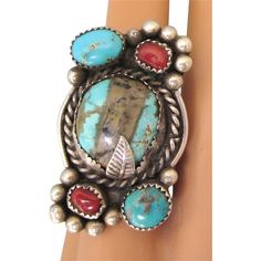 Spectacular Vintage Sterling, Boulder Turquoise and Coral Ring, Size 5-1/2