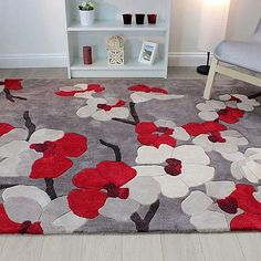 Carpet Runner Installation Near Me Modern Carpet, Modern Rugs, Red Cherry Blossom, Latch Hook Rugs, Rug Inspiration, Wall Organization, Red Rugs, Carpet Design, Rug Hooking
