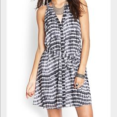 Fit & Flare Tie Dye Dress Blue/grey fit and flare dress, tie waist, button down (buttons hidden with fabric), v-neck Forever 21 Dresses