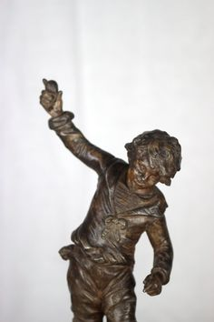 Statue of Boy in Bronze. French Sculptor Louis by LePasseRecompose