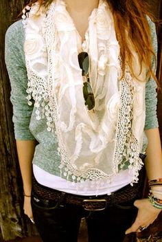 Betcha I could make this. sweater, accessori, dream closet, cozy outfits, dress up, fall outfits, casual outfits, scarf, scarv