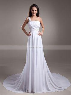 Annalise - Solo hombro imperio gasa vestido de novia