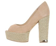 Nude peep-toe suede and cord pump by Paloma Barcelo'.