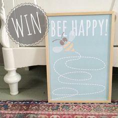 Maak kans op deze BEE HAPPY poster van @CozykidzNL ! Laatste dag. Check kinderkamerstylist op Instagram