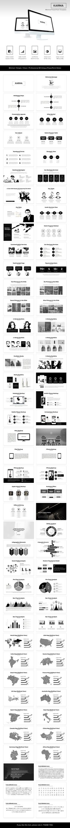 Buy Karma Minimal PowerPoint Template by graphix_shiv on GraphicRiver. If you're looking to make a strong professional impact, go with this Karma Minimal PowerPoint Template. Best Presentation Templates, Presentation Board Design, Business Presentation, Page Layout Design, Ppt Design, Slide Design, Template Power Point, Brochure Layout, Instructional Design